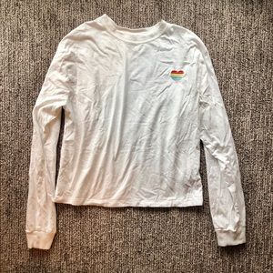 Simple cozy white long T with cute heart